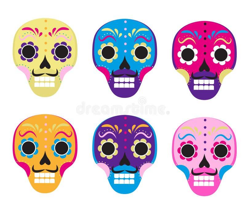 Cukrowej czaszki ustalona ikona, mieszkanie, kreskówka styl Śliczna nieżywa głowa, kościec dla dnia nieboszczyk w Meksyk Odizolow ilustracji