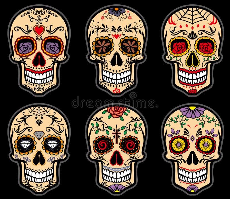 Cukrowy czaszka dzień nieboszczyka set ilustracja wektor