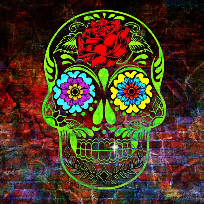 Cukrowy scull z różami i kwiatami zdjęcie royalty free