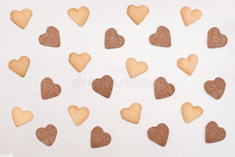 Cukrowych ciastek serce kształtujący wzór Wyśmienicie domowej roboty naturalny organicznie ciasto obrazy royalty free