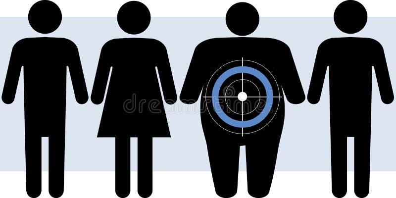 Cukrzyca celów z nadwagą ludzie royalty ilustracja