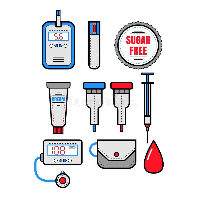 Cukrzyce Set mieszkanie barwione ikony Glucometer i insulina wektor royalty ilustracja