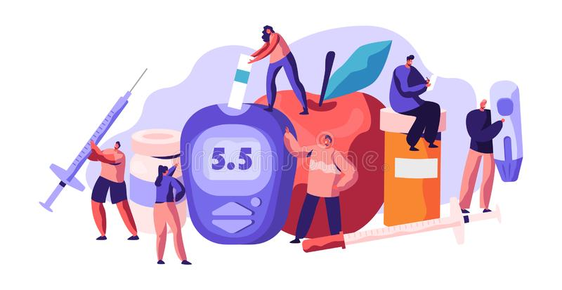 Cukrzycowy Krwionośnej glikozy pozioma test przy Cyfrowym Glucometer Insuliny kropla dla opieki zdrowotnej traktowania Doktorski  royalty ilustracja