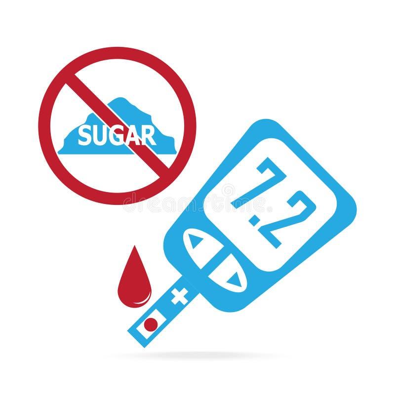 Cukrzycy błękitna ikona, krwi kropla glikoza test royalty ilustracja