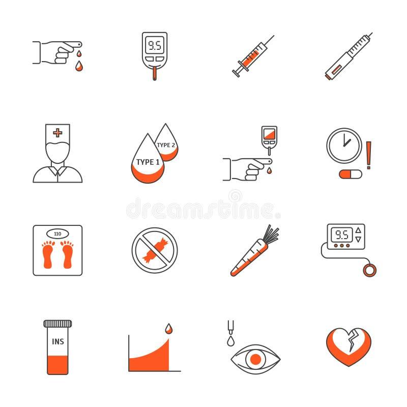 Cukrzycy traktowania znaki Cienieją Kreskowe ikony Ustawiać wektor ilustracji