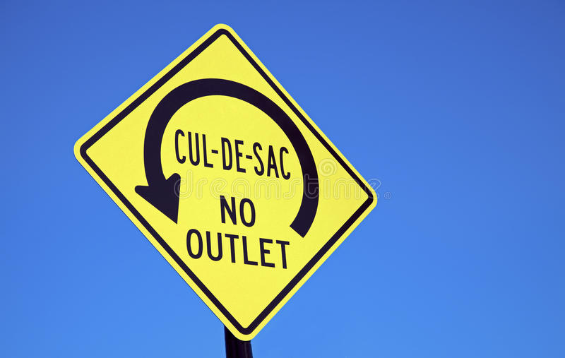 Cul-de-sac. Road sign seen in downtown Chicago stock photography