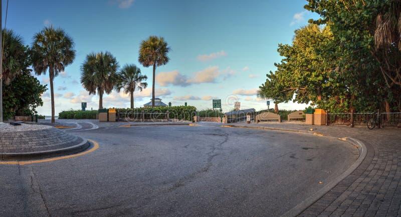 Cul-de-sac Entrance to Vanderbilt Beach at sunrise. In Naples, Florida stock images