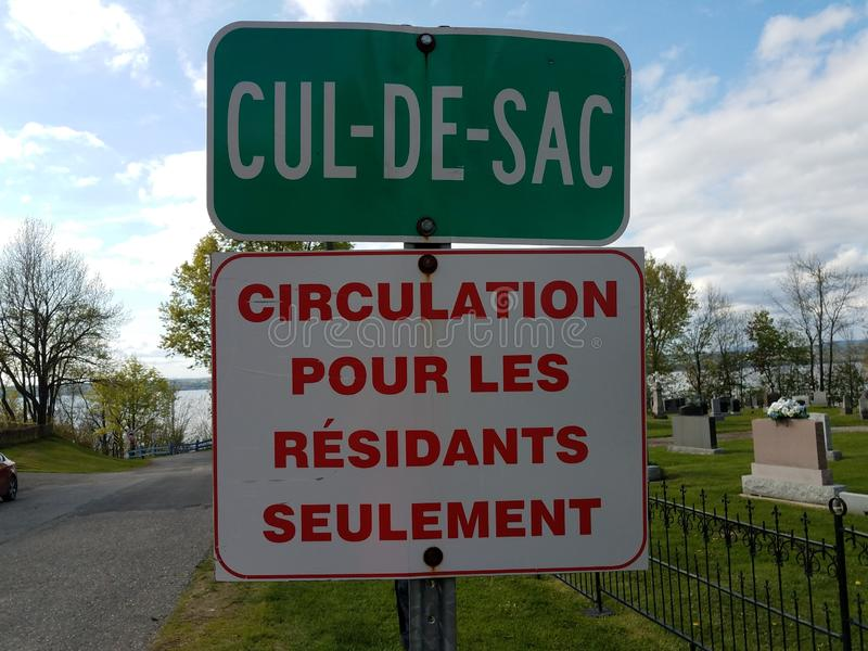 Cul de sac sign street for residents only sign in French. Green and white cul de sac sign street for residents only sign in French stock photo