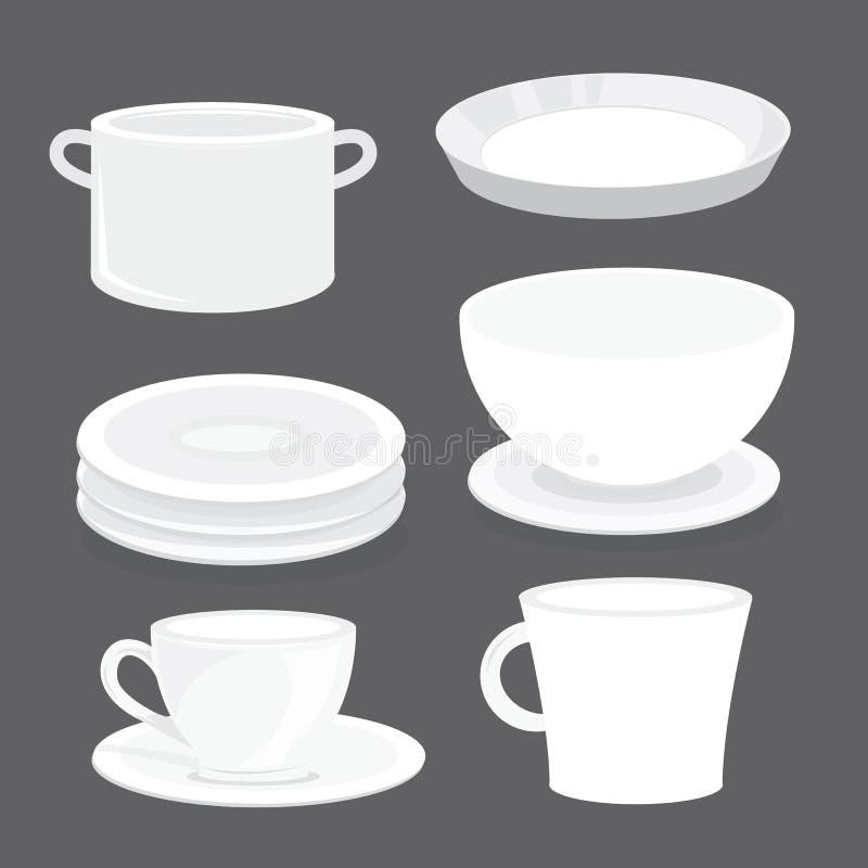 Culbuteur Glass Tray Cartoon Vector de tasse de plat de plat de cuvette illustration libre de droits