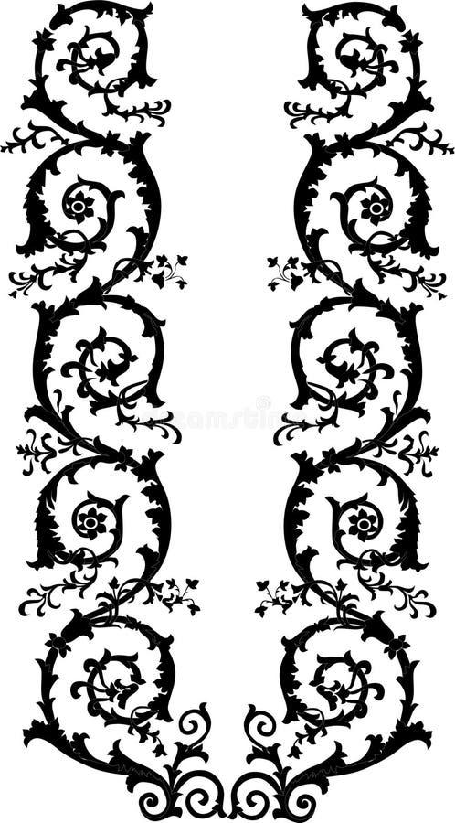 Culed black floral stripe stock illustration