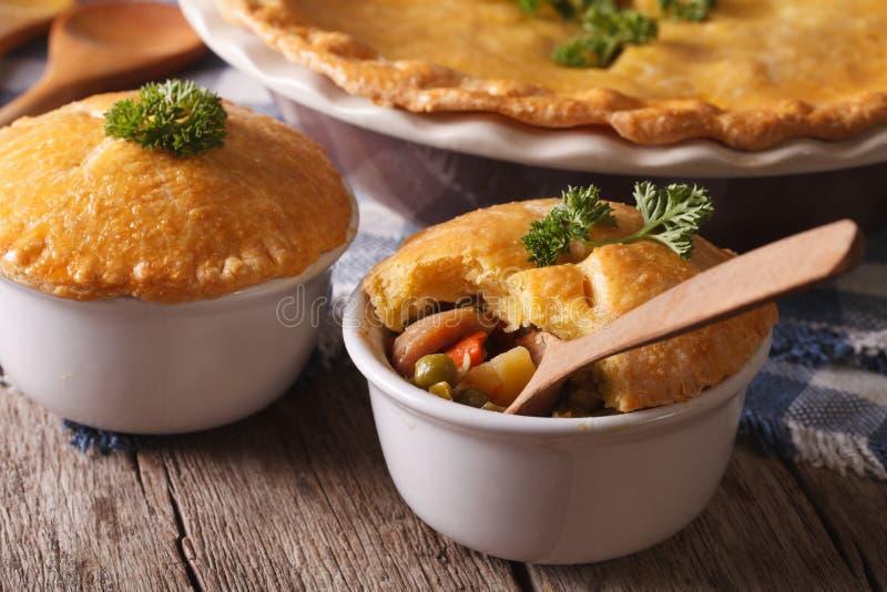 Culinária americana: torta da galinha com vegetais em um potenciômetro horizont foto de stock royalty free
