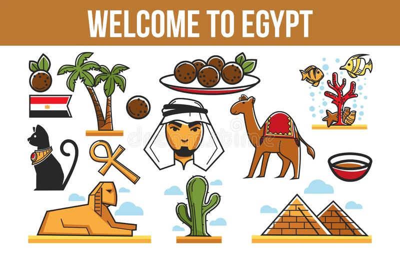 Culinária da arquitetura dos símbolos do turismo e viagem egípcias da natureza ilustração stock