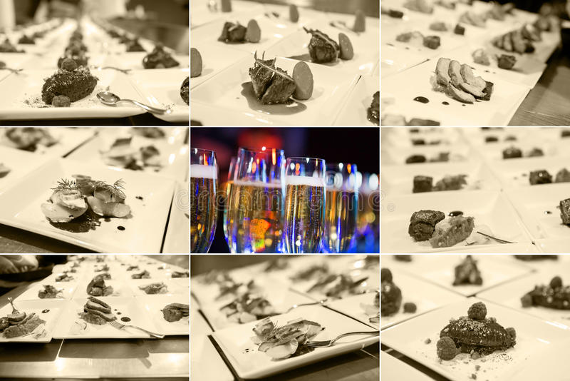 Culinária de fusão (pratos deliciosos gourmet e restauração do alimento) fotos de stock royalty free