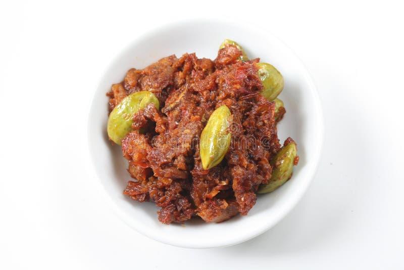 Culinária do malaio de Petai do sambal foto de stock