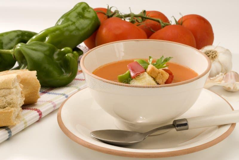 Culinária espanhola. Gazpacho. Sopa fria andaluza. fotos de stock royalty free