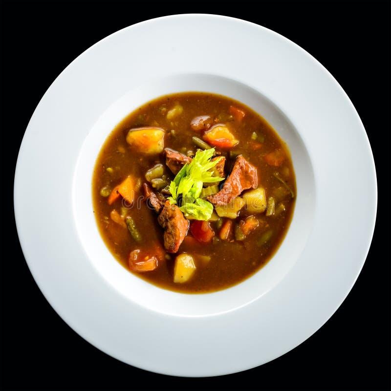 Culinária italiana tradicional Bograc húngaro saboroso da sopa de goulash fotos de stock