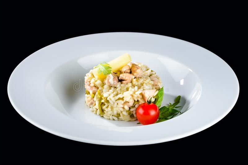 Culinária italiana tradicional Risoto cremoso apetitoso com shri imagem de stock