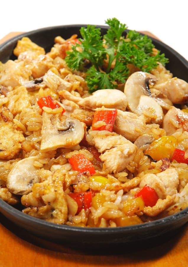 Culinária japonesa - arroz com carne da galinha imagem de stock