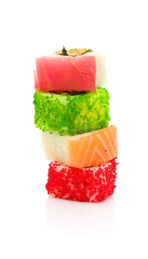 Culinária japonesa. rolos. foto vertical. fotos de stock royalty free