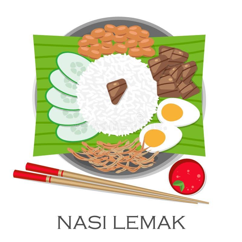 Culinária malaia, Nasi Lemak ou arroz cozinhado ilustração stock