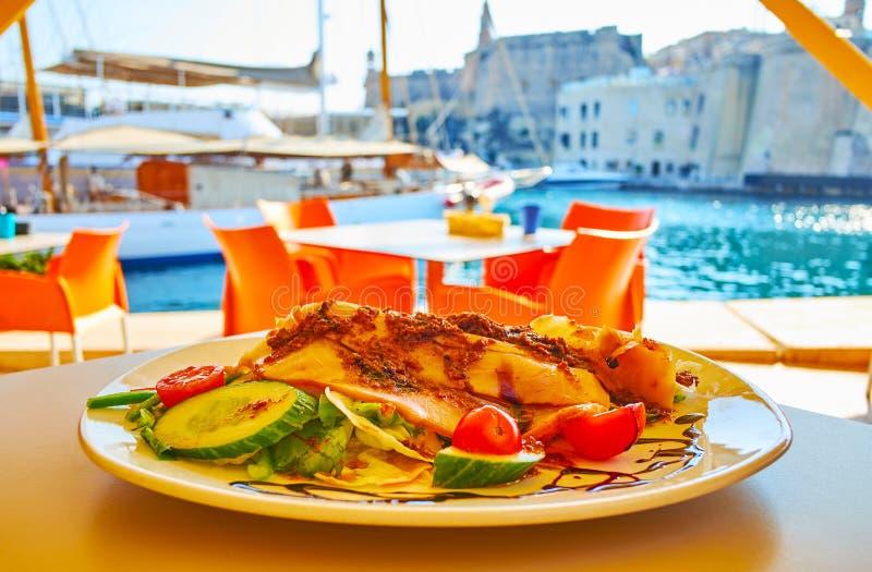 Culinária mediterrânea, Birgu, Malta fotos de stock