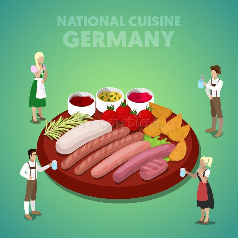 Culinária nacional isométrica de Alemanha com placa da salsicha e os povos alemães na roupa tradicional ilustração royalty free