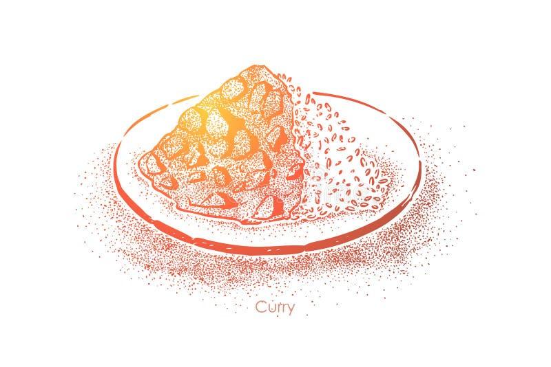 Culinária oriental, prato picante do arroz com carne cozido, vegetais, menu oriental do restaurante do alimento, jantar gourmet ilustração stock