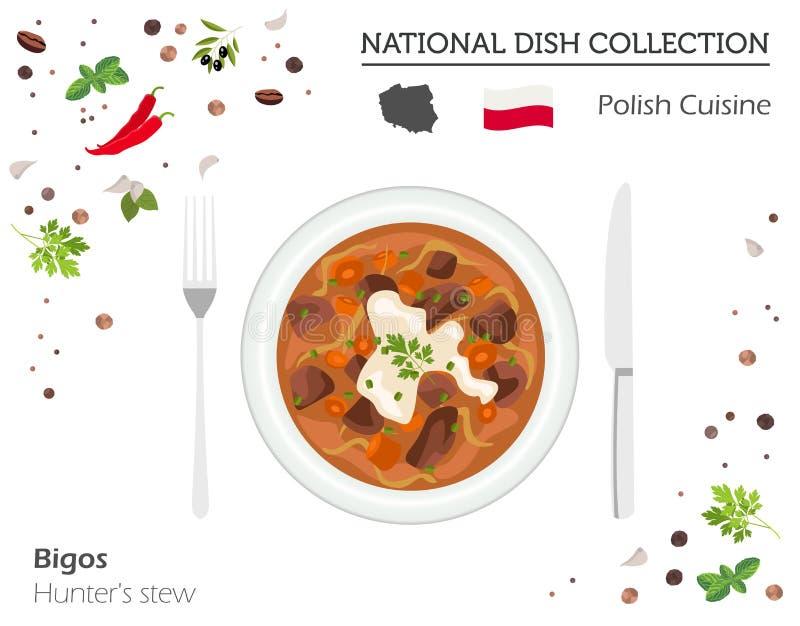 Culinária polonesa Coleção nacional europeia do prato Guisado do ` s do caçador ilustração stock