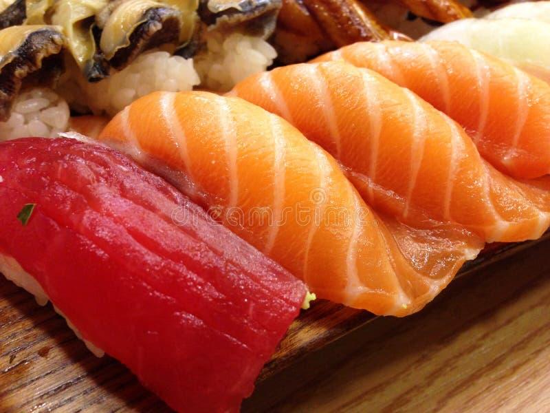 Culinária, salmão fumado, sushi, Sashimi fotografia de stock royalty free
