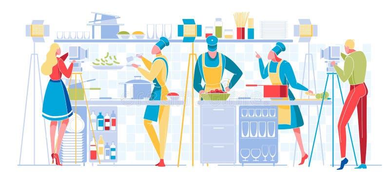 Culinair programma of Blog Broadcasting Televisie royalty-vrije illustratie
