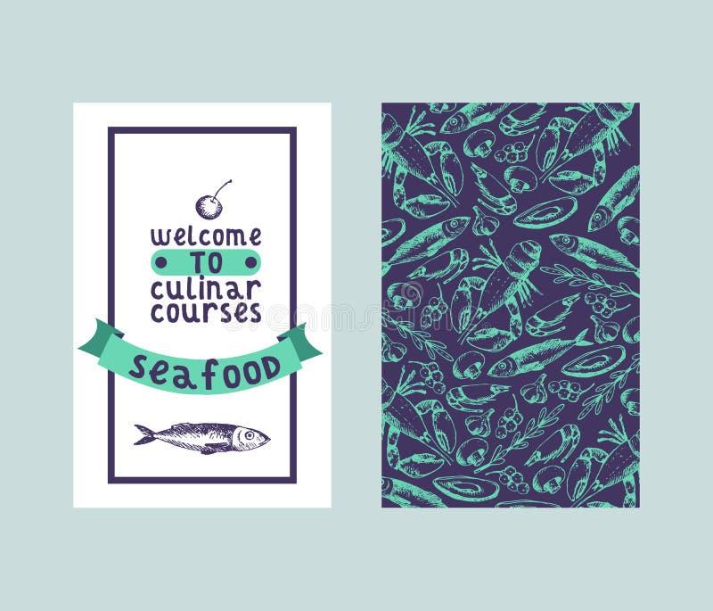 Culinar追猎餐馆菜单的海鲜无缝的样式和剪影传染媒介例证 鲜鱼,龙虾,和 皇族释放例证