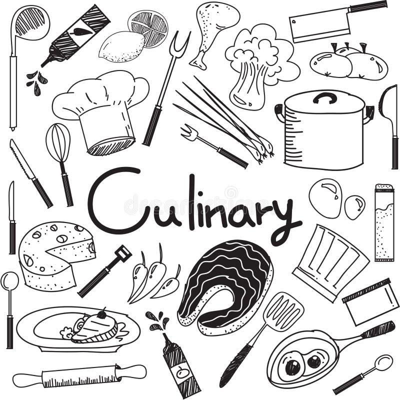 Culinario e cucinando scarabocchio degli ingredienti alimentari e dell'icona dello strumento illustrazione di stock