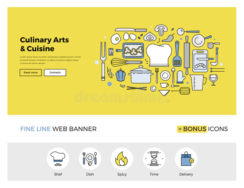 Culinary arts flat line banner. Flat line design of web banner template with outline icons of master class for culinary art cooking process, gourmet cuisine by stock illustration
