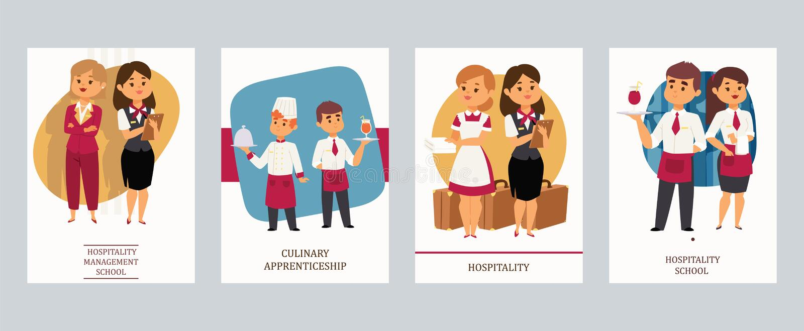 Culinary arts or hospitality school vector Illustration. Cards with hotel staff, meneger and assistant, chef and waiter. Culinary Aarts or hospitality school vector illustration