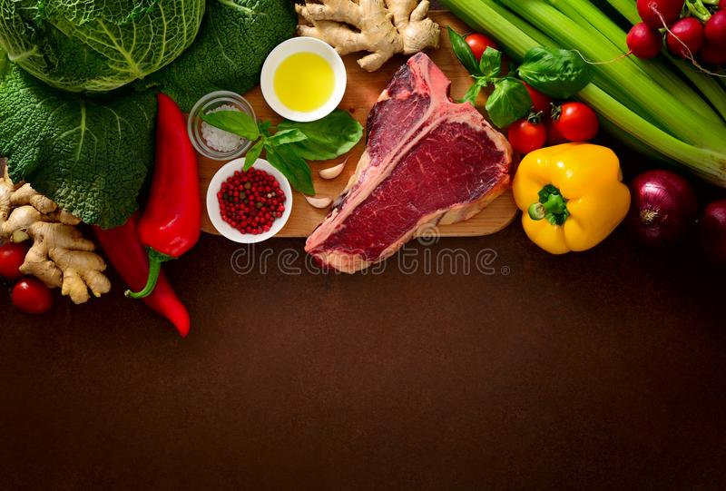 Culinary background with fresh vegetables and meat royalty free stock photos