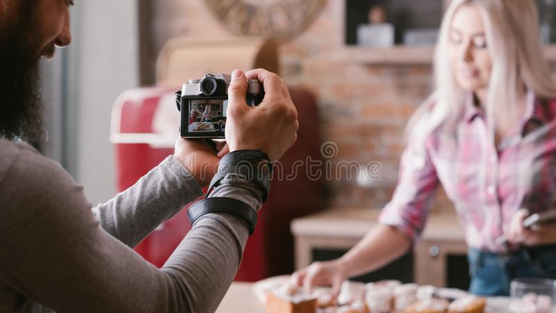 Culinary blog food cooking hobby video tutorial stock images