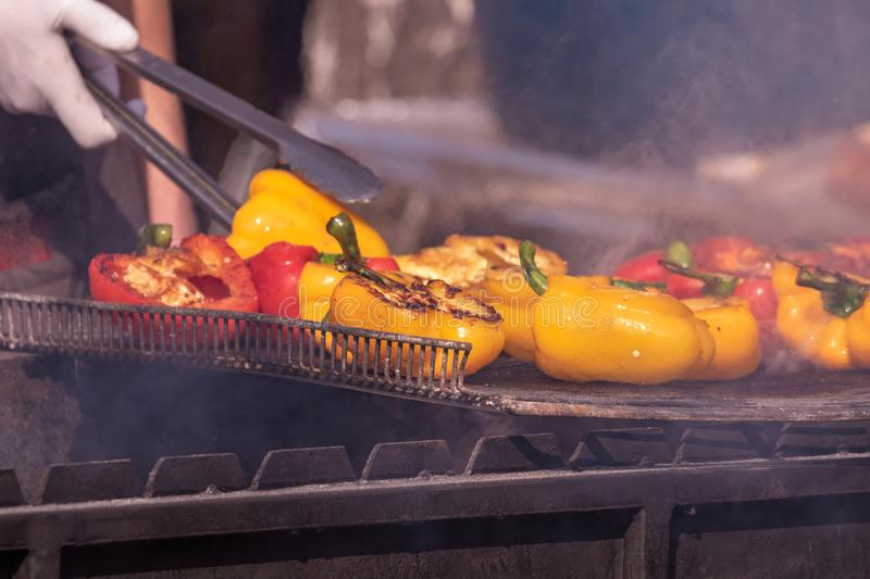 Culinary Buffet with healthy take away meal - grilled vegetables, fish and meat on the street food culinary market, festival, even. T.  Different types of stock images