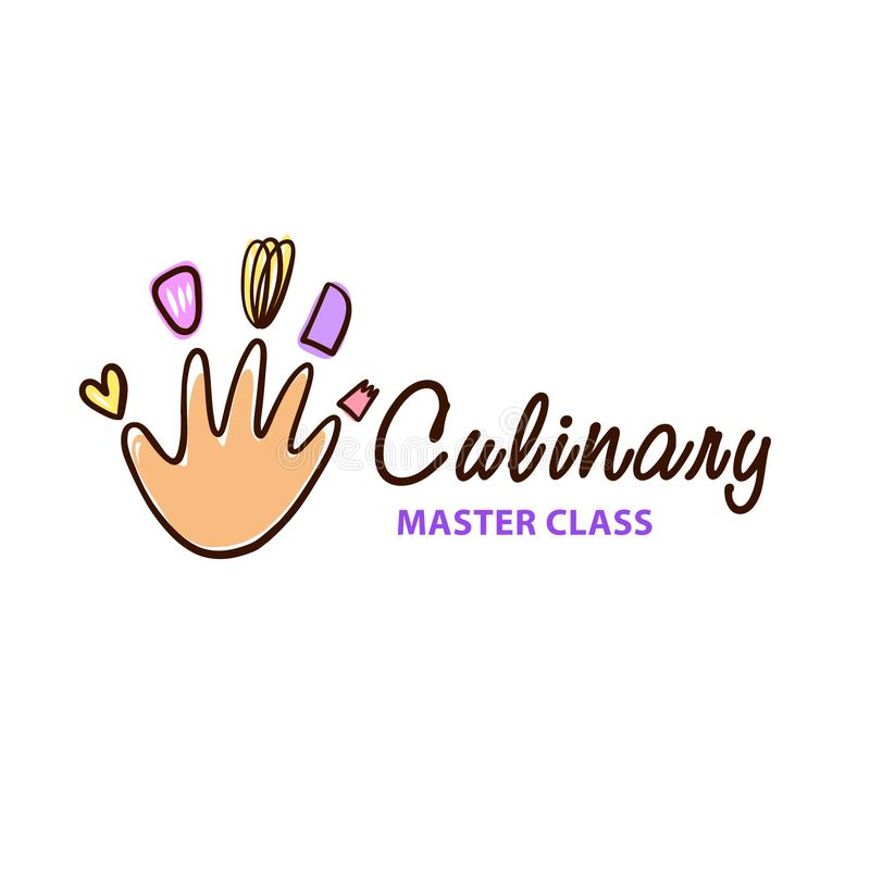 Culinary cooking master class logo. Freehand drawn badge design. vector illustration