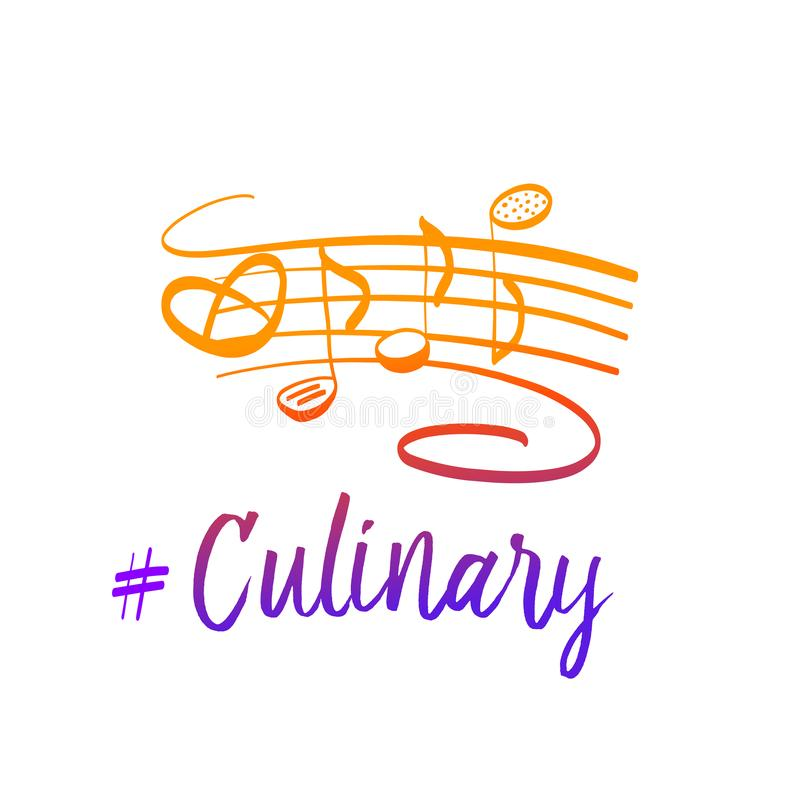 Culinary cooking restaurant logo. Freehand drawn badge design. T royalty free illustration