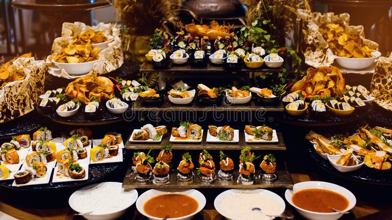 Culinary Event. Food Background, Close-up. Catering Buffet Food in Hotel  Restaurant. Fresh, Celebration. Stock Photo - Image of event, appetizer:  171488004