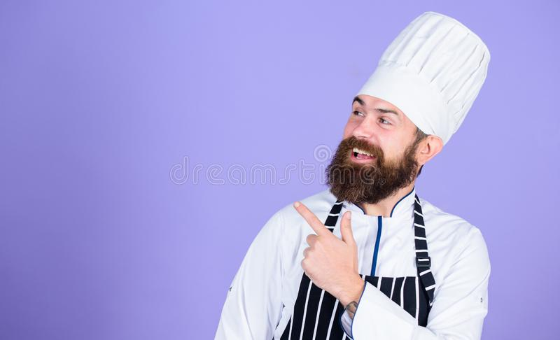 Culinary expert. Cooking is my passion. best chef ever. Perfect chef with neat look. Professional cook in uniform royalty free stock photos