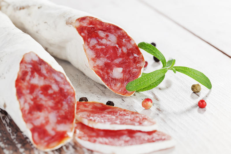 Download Culinary Fuet Sausages With Colorful Peppercorns. Stock Photo - Image: 26064930