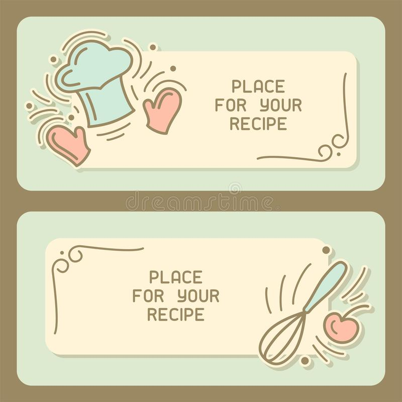 Culinary recipe card with vintage elements and text place. Doodle style vector illustration. Suitable for advertising,master class invitation or book design stock illustration