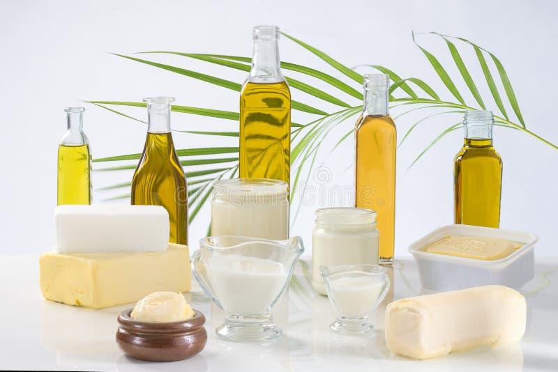 Culinary variety of fats royalty free stock photos
