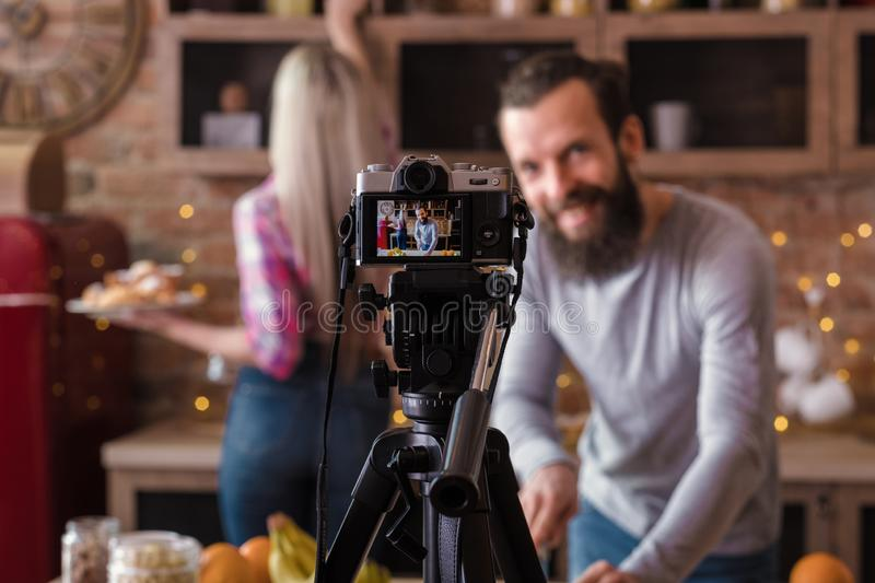 Culinary vlog business lifestyle cooking podcast stock image