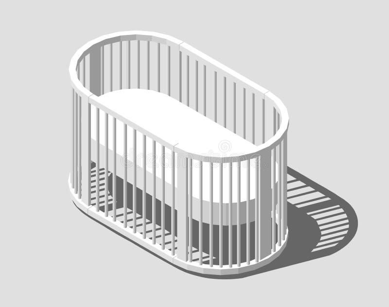 Culla bianca rotonda isometrica Greppia del bambino Progettazione moderna dell'infermiere Illustrazione ENV 10 di vettore isolata illustrazione di stock
