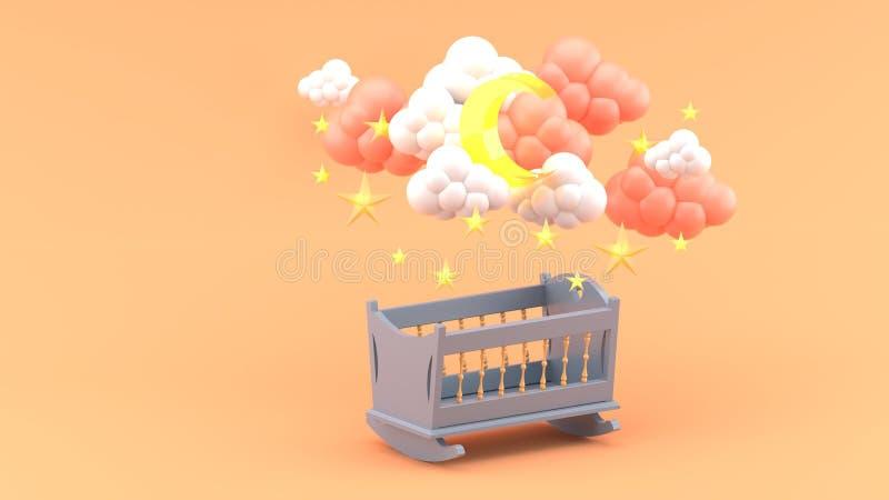 Culla del bambino blu sotto le nuvole, la luna e le stelle su fondo arancio illustrazione di stock