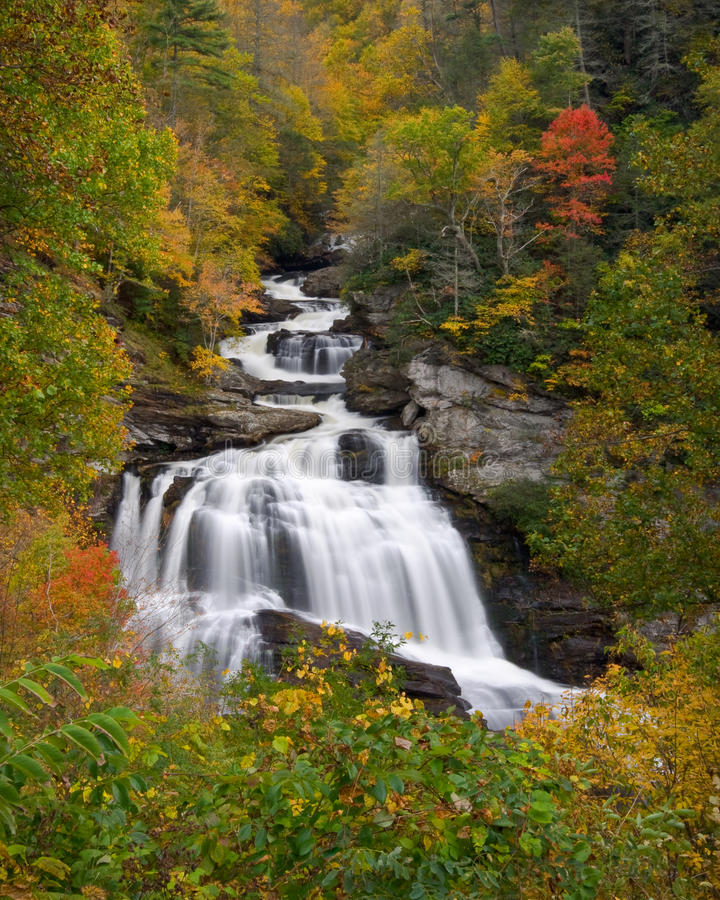 Cullasaja Falls Waterfall In Autumn Fall Foliage stock photos