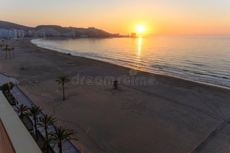 Sunrise at the beach in Cullera stock photos