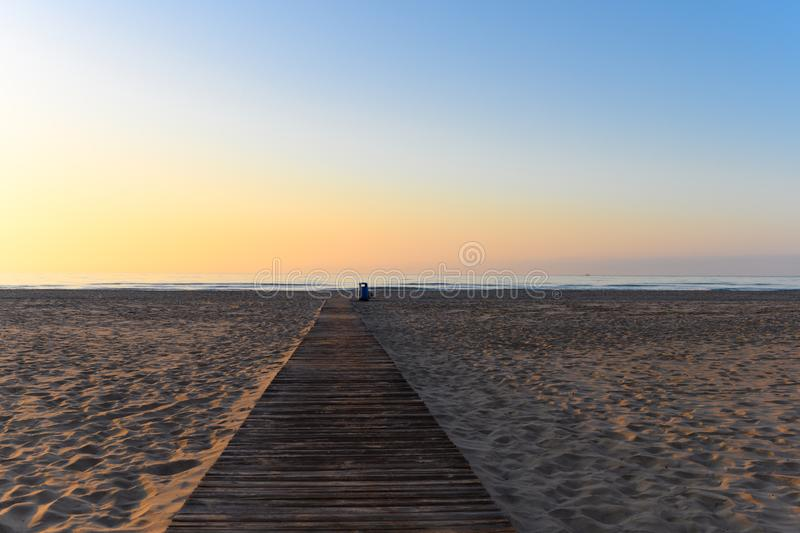 Sunrise at the beach in Cullera stock photography